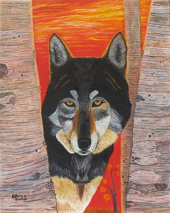Autum Hunt of a Lone Wolf - Kathy Kreutziger of Art By New Life Studio