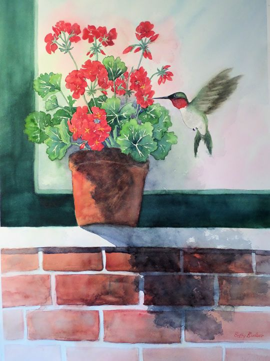 Hummingbird and Geranium - Bettys Watercolor