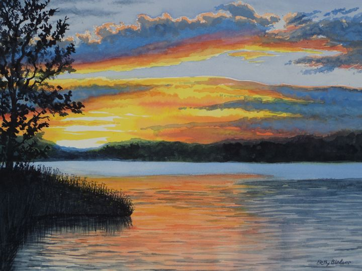 Inks Lake Sunset - Bettys Watercolor