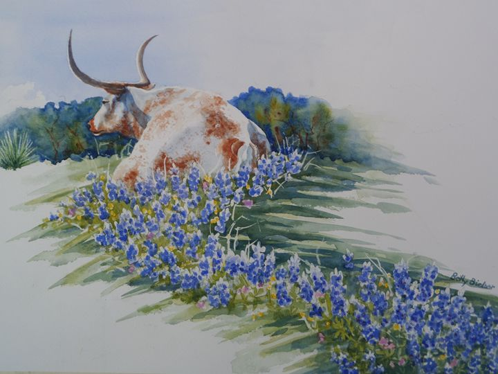 Longhorn in Bluebonnets - Bettys Watercolor