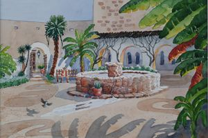 Spanish Courtyard - Bettys Watercolor