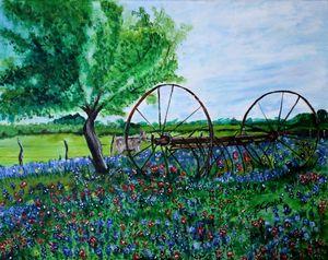 Wagon Wheel in a Field of Flowers