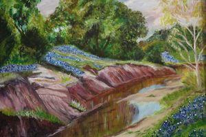Creek with Bluebonnets