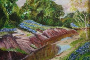 Creek with Bluebonnets - About Town Artistry