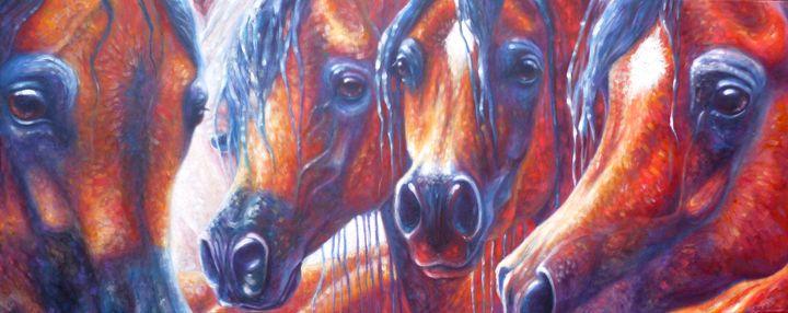 Four Arabian Horses - Gill Bustamante - Artist