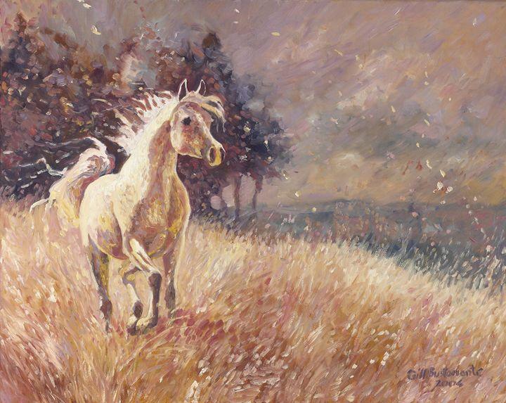 Palomino Horse in a summer field - Gill Bustamante - Artist