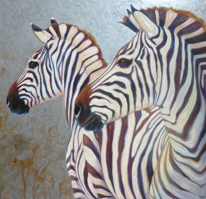 Two Zebras on a silver background - Gill Bustamante - Artist