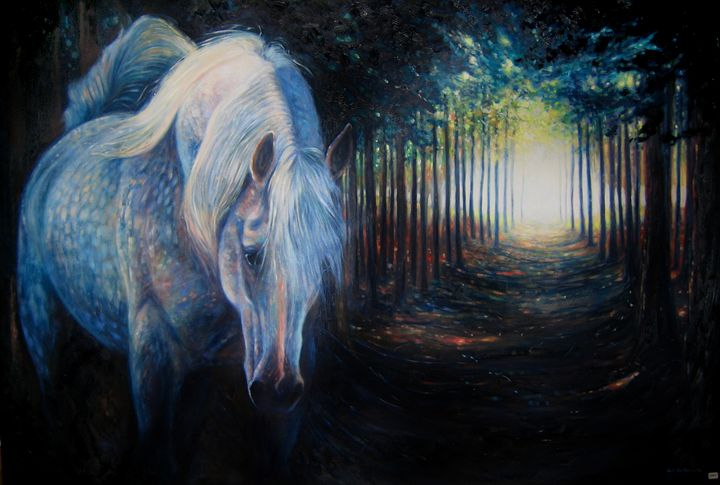 Unicorn hiding in a dark pine forest - Gill Bustamante - Artist