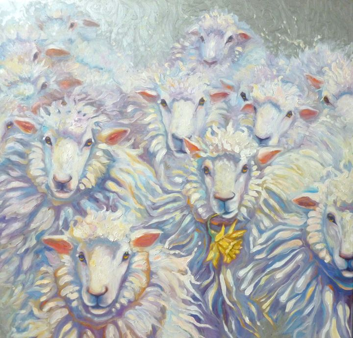 flock of sheep in oil on canvas - Gill Bustamante - Artist