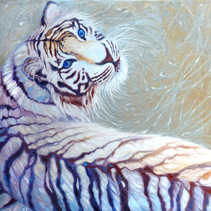 blue eyed white tiger on silver - Gill Bustamante - Artist