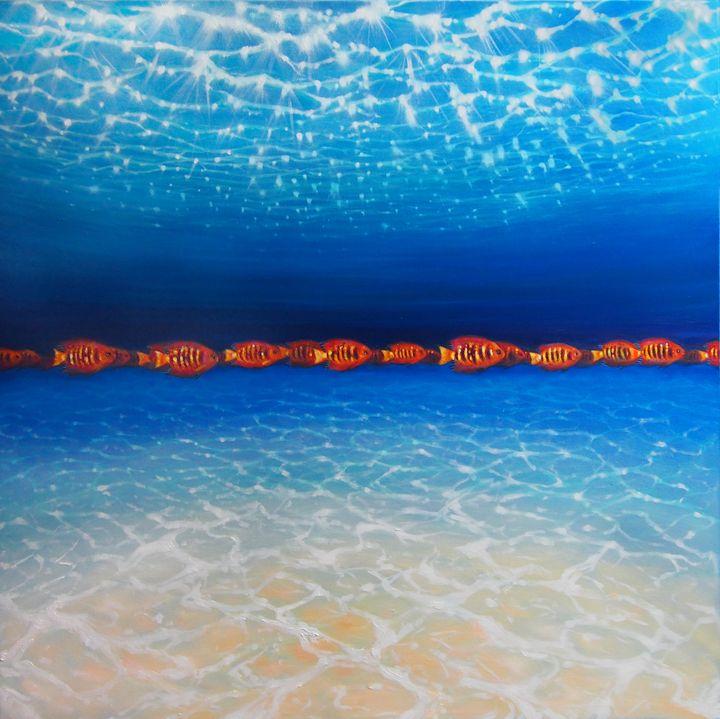 orange fish - blue sea No.2 - Gill Bustamante - Artist