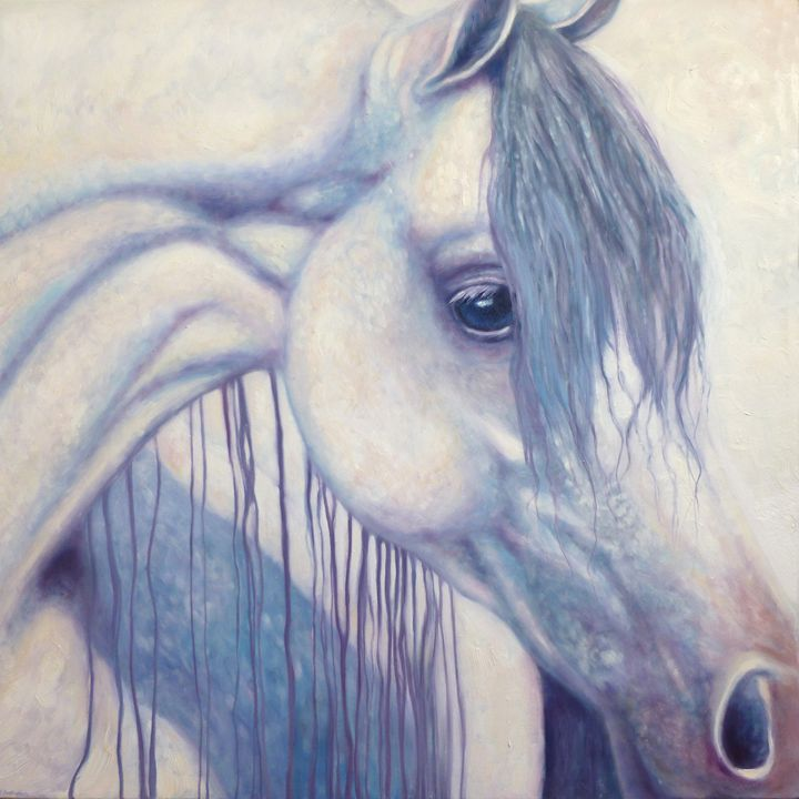 White Arabian Horse Impressionist Ar - Gill Bustamante - Artist