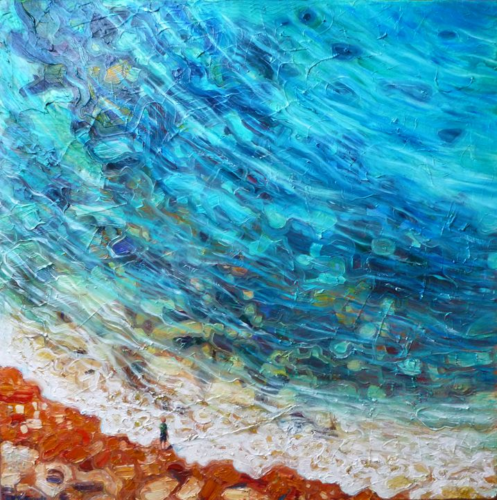 Red headed child and blue sea - Gill Bustamante - Artist