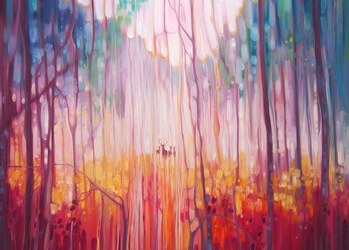 Elusive - deer in a misty forest - Gill Bustamante - Artist
