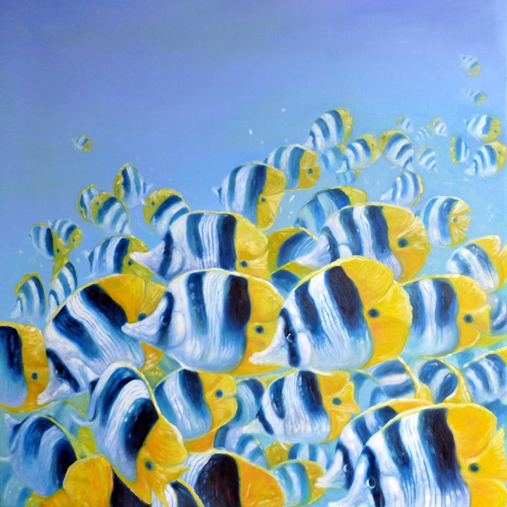 Shoal of striped blue and yello fish - Gill Bustamante - Artist
