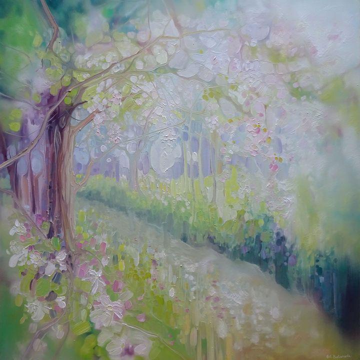 Spring Orchard Sussex Landscape - Gill Bustamante - Artist