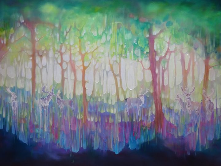 Seven Stags Appearing - Gill Bustamante - Artist