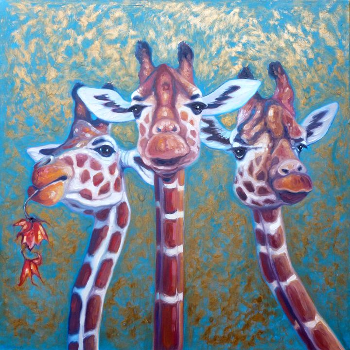 three gorgeous giraffes - Gill Bustamante - Artist