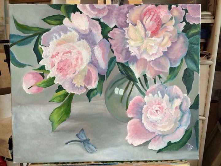 Peonies and dragonfly - Natalija Dauberga
