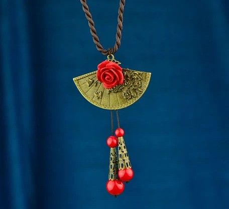 Sweater Necklace with Red Flower - X-Art