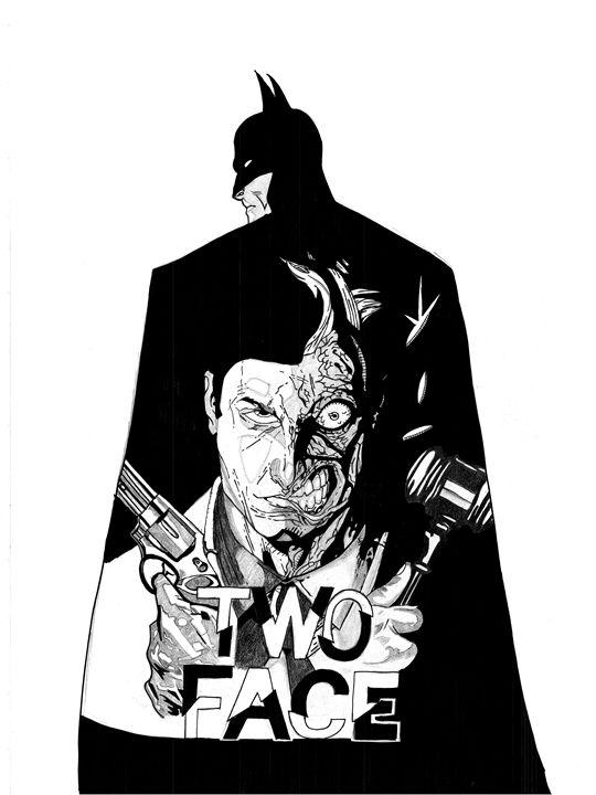 Batman/Two Face B&W - Kris Ink