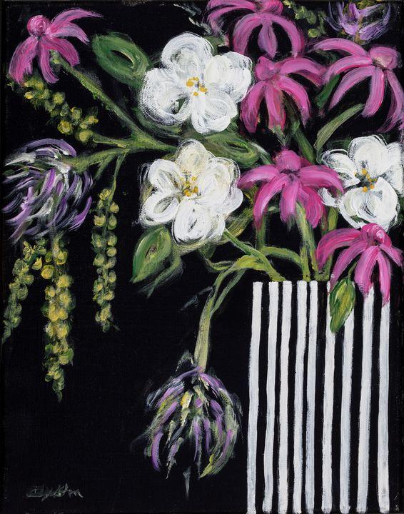 Flowers on Black - Cathy Dykstra Art