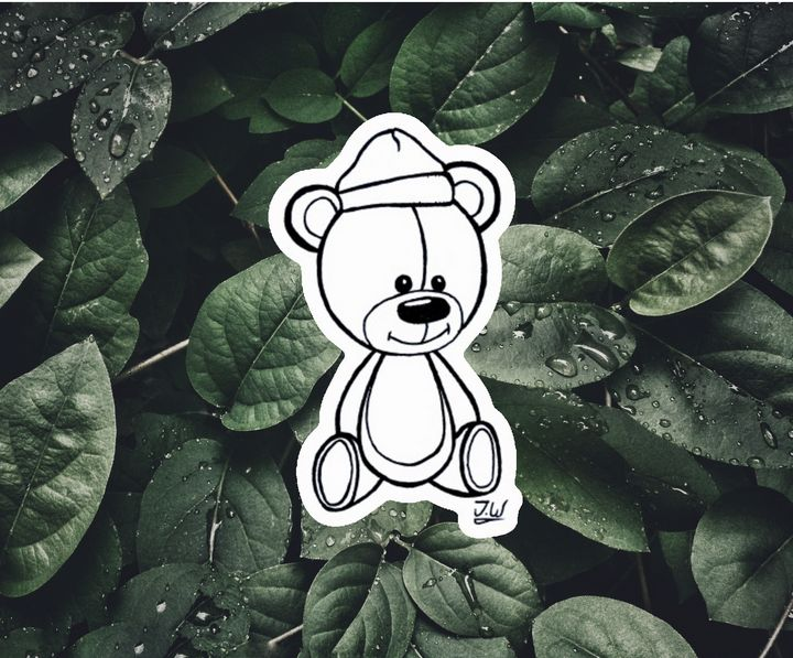 Teddy Bear Sticker - J.W art