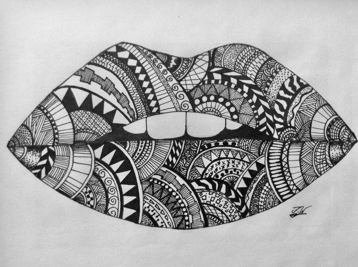 Zentangle lips - J.W art