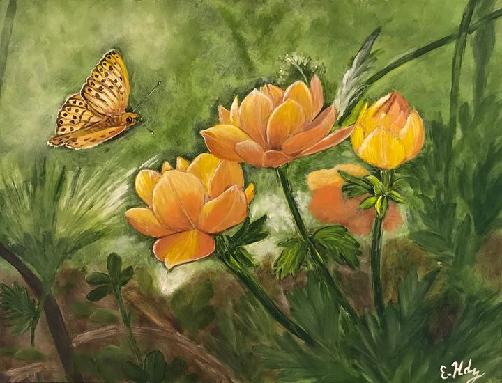 The Flowers and the Butterfly - Fine Art by Evelyn Hernandez