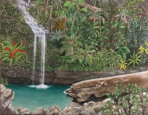 A Beautiful Waterfall, Puerto Rico - Fine Art by Evelyn Hernandez