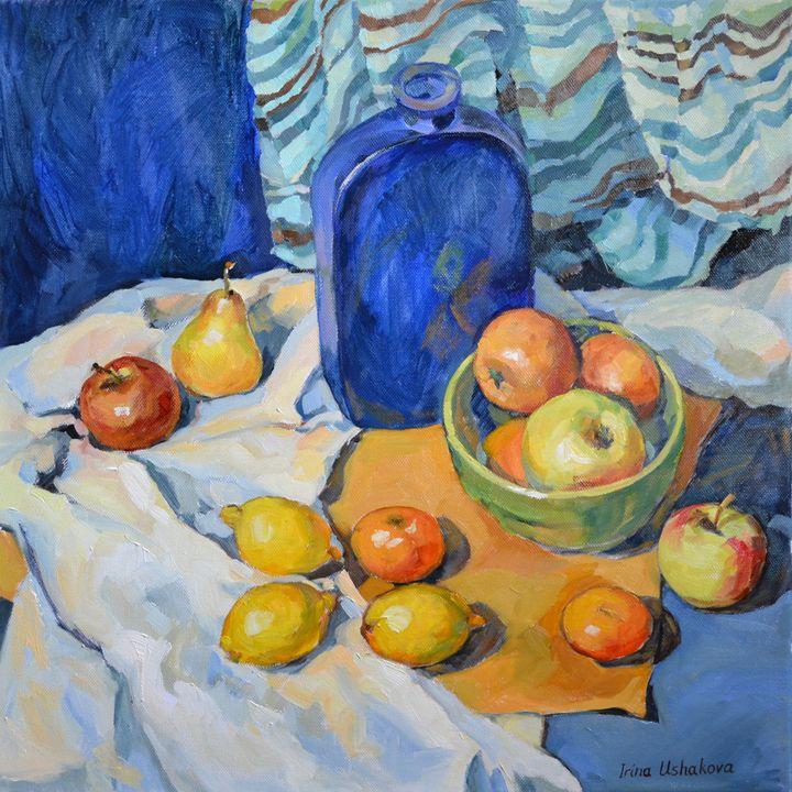 Fruits and a blue bottle. - Irina Ushakova