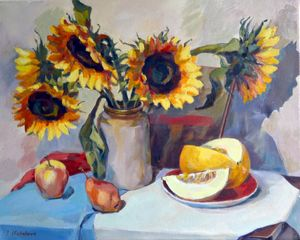 Sunflowers and melon - Irina Ushakova