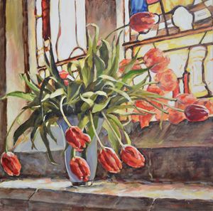 TULIPS ON THE CHURCH WINDOWSILL