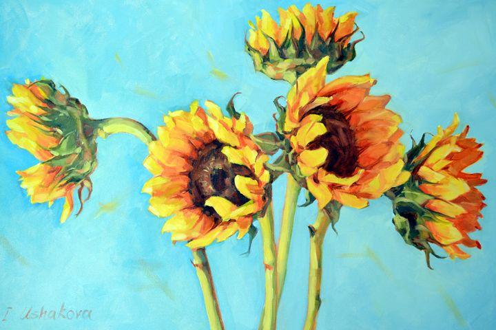 Sunflowers on blue - Irina Ushakova