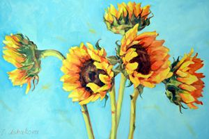 Sunflowers on blue - Irina Ushakova