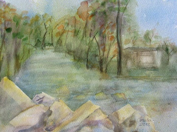 Catherine Creek in Montour - Art by Coralee