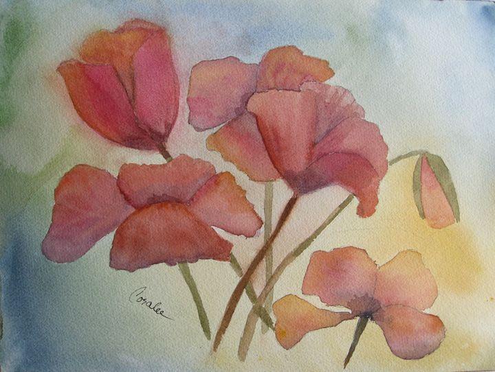 Poppy bouquet - Art by Coralee