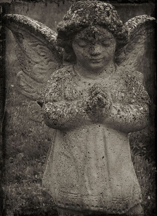 praying angel in black and white - Pixie