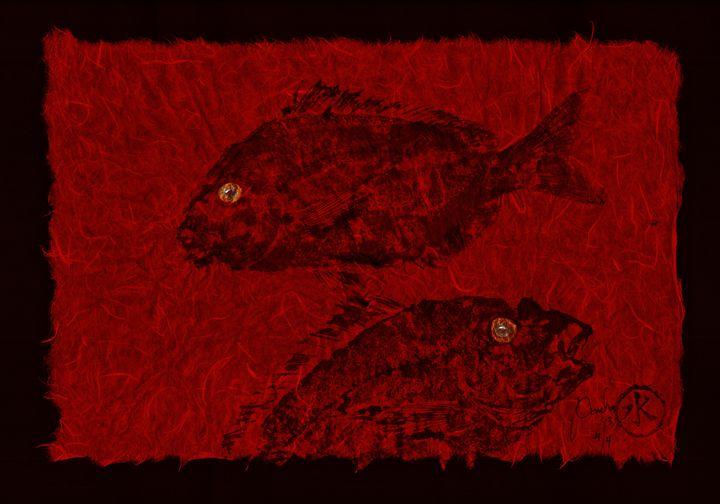 Gyotaku Scup Series 4 Red Unryu Pape - ISLAND FISH PRINTS