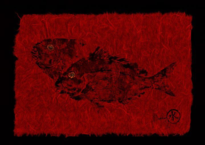 Gyotaku Scup Series 2  Red Unryu Pap - ISLAND FISH PRINTS