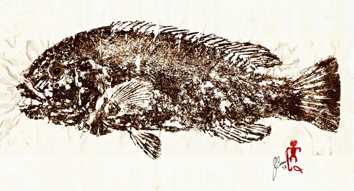 Tautog on Rice Paper - ISLAND FISH PRINTS