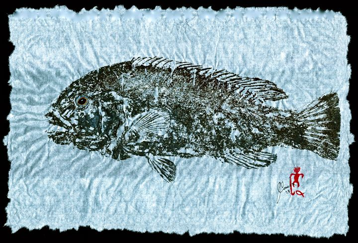 Gyotaku Tautog on Rice Paper w Black - ISLAND FISH PRINTS