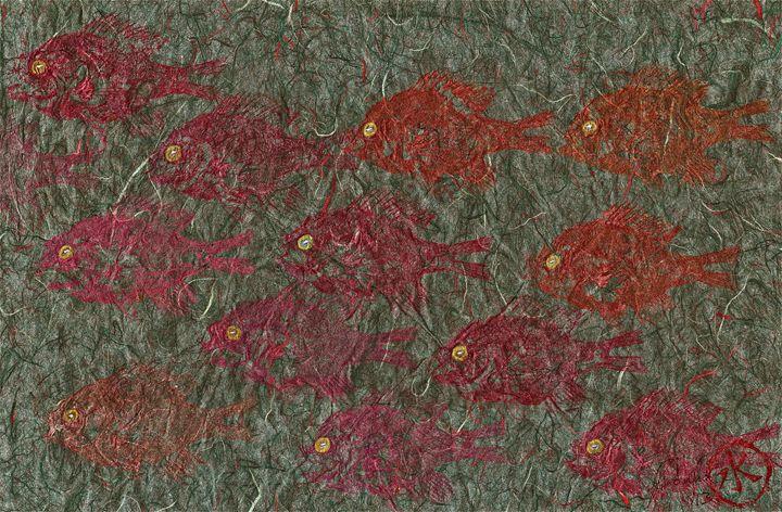 Bluegills on Charcoal Unryu Paper - ISLAND FISH PRINTS