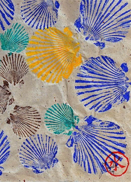 Gyotaku Scallops - Shellfish Apetite - ISLAND FISH PRINTS