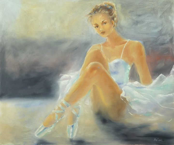 Seated Ballerina in white dress - Art gallery Susana Zárate