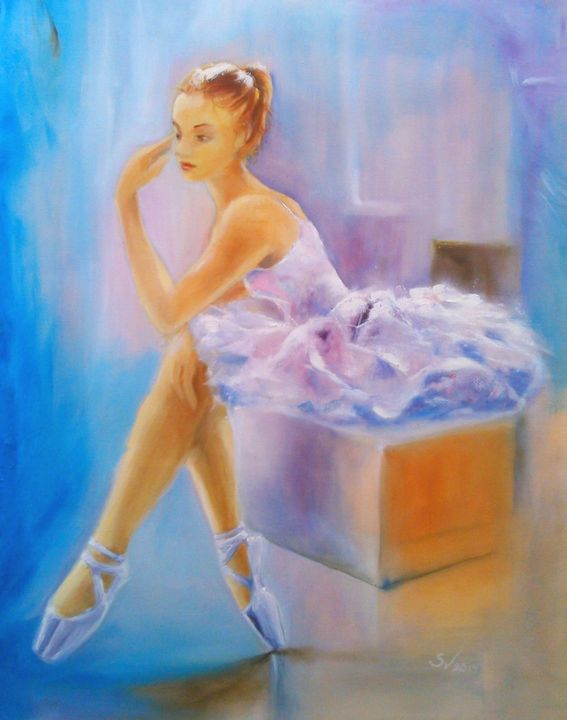 Seated ballerina waiting - Art gallery Susana Zárate