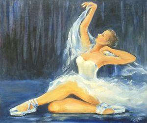 Ballerina sitting with a silk shawl