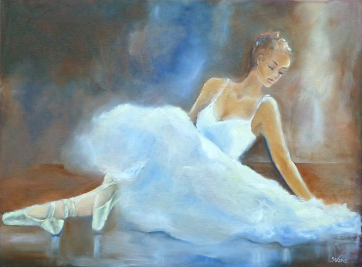 Ballerina sitting on stage - Art gallery Susana Zárate