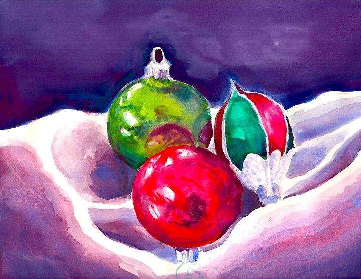Still Life With Christmas Ornaments - B's Fine Arts