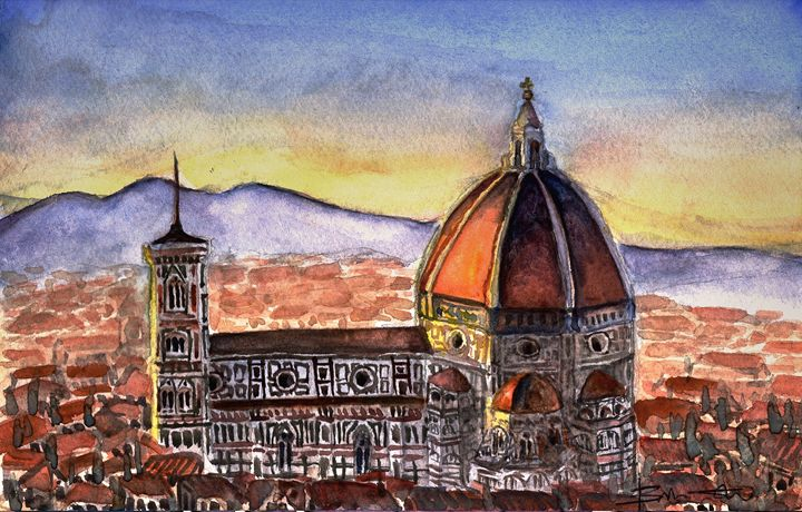 Sunset in Florence - B's Fine Arts